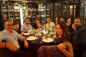 Cena final en Mauro & Sensai del Máster en Dirección de Hoteles. Alberto Iglesias, Daniel Asís, José María Giménez, Daniel Asís y Chema Herre