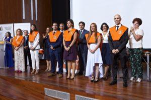 Entrega de bandas. Sergio Rodríguez, Shana Van Hoecke, Silvia Monteiro, Simón Larrull, Sofía López y Tania Martínez